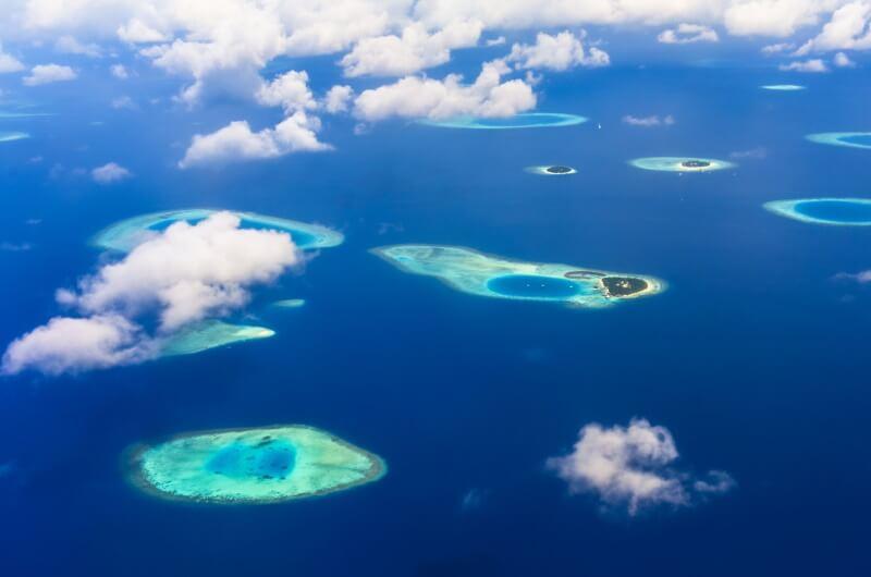 utsikt flyg maldiverna