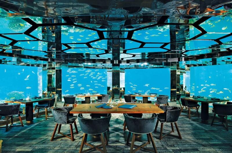 undervattensrestaurang maldiverna - anantara kihavah sea
